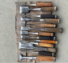 Japanese Vintage Chisel Tataki Nomi Carpenter Tool 13 Pcs Set Woodworking Used • 174.73£