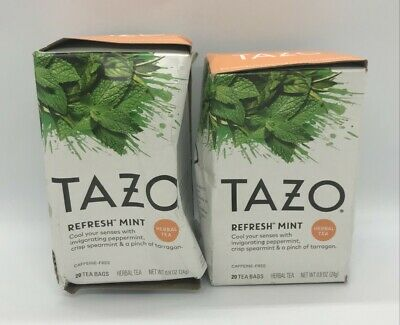 £9.58 • Buy Tazo | Refresh Mint | Herbal Tea | 20 Tea Bags 0.8 OZ X 2 Boxes -- SEE PICTURES