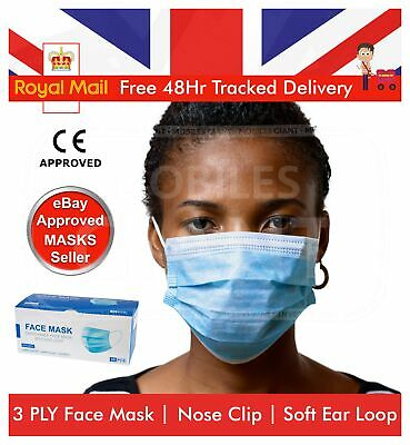 £9.99 • Buy 50 Pcs Protective Face Mask Respirator Non Surgical Anti Bacterial Dust Mask UK