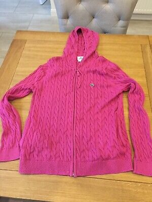 Womens Pink Lacoste Cardigan Cable Knit Size 44 Good Condition • 20£