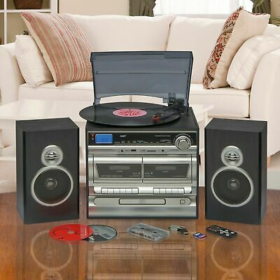 Hi-Fi Music System AM FM Radio CD Stereo Record Tape Player USB SD With Speaker • 51£