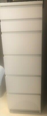 Tall White Chest Of 6 Drawers, Ikea Malm • 60£