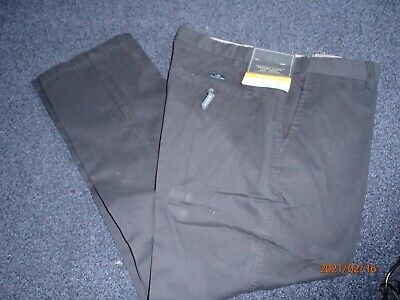 BNWT Atlantic Bay Black Chino Style Flat Front Trousers 38S (length 40) Slimfit • 10£