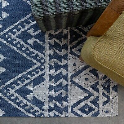 £59.95 • Buy Navy Blue Flatweave Rugs Denim Recycled Cotton Tribal Moroccan Style Large Mats