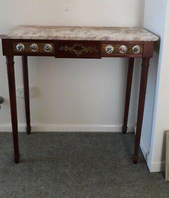 AU50 • Buy Vintage Timber Console Table With Marble Top And Porcelain Decoration