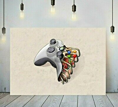 Xbox Controller Rib Cage Gaming Printed Canvas Wall Art Framed Print Picture • 24.99£