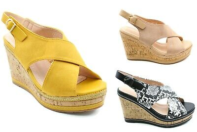 £9.99 • Buy Womens High Fashion Wedge Sandals Ankle Strap Platform Ladies Shoes Size 3-8