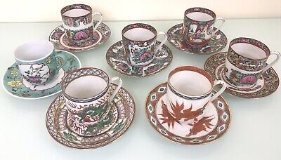 £60 • Buy Collection Hong Kong Decorated Chinese Porcelain Rose Medallion Cups Saucers