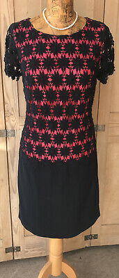 ROCHA JOHN ROCHA DEBENHAMS SIZE 12 Navy Blue Lace Bodice Pink Lined Shift Dress • 12.99£