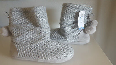 £6.48 • Buy M&S Collection Grey Snuggle Slipper Boots Size 6 Style T02/3848