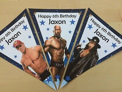 Personalised Wwe Bunting / Party / Decoration / Birthday • 2.99£