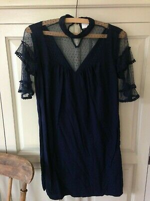 Women's Navy Tunic Dress With Sheer Polka Dot Flared Sleeves, Size Small Vila • 10£