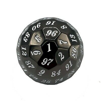 AU38.71 • Buy Luck Lab 100 Sided Metal Polyhedral Dice (D100) Black Nickel With White And Bag!