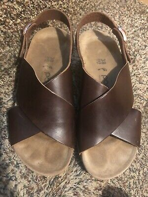 Birkenstock Papillio SAMIRA Wedge Brown Leather Sandals EU 38 US 7 • 36.16£
