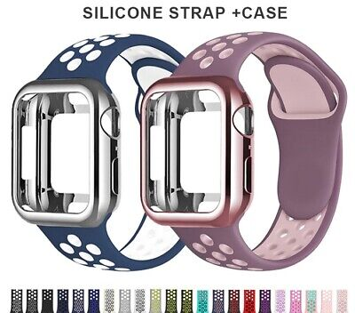 AU7.95 • Buy Silicone Band+Case For Apple Watch IWatch Series SE 6 5 4 3 2 38/40mm 42/44mm