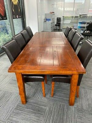 AU300 • Buy Solid Timber Extendable Dining Table + Chairs - 8 To 12 Seaters