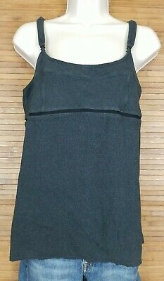 $ CDN25.77 • Buy Lululemon Gray Tank Top Ribbed Sz 12 Adjustable Straps Shelf Bra Mesh Accent