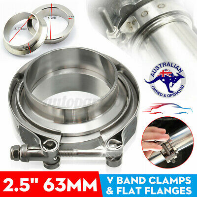 AU23.99 • Buy 2.5'' 64mm Stainless Steel V-Band Clamp & Flanges Exhaust Downpipe Turbo Kit