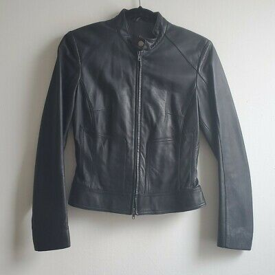 $ CDN120 • Buy Vintage Black Leather Jacket By Danier, Fitted, Size Small