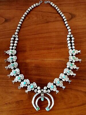 $ CDN886.82 • Buy Exquisite Vintage Navajo Sterling And Turquoise Box Bow Squash Blossom Necklace