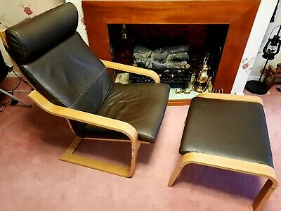 Brown Leather Poang Chair And Footstool • 45£