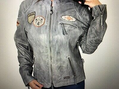 $ CDN126.86 • Buy Harley Davidson Women's Firebrand Washed Leather Jacket Gray 97129-16VW Large L