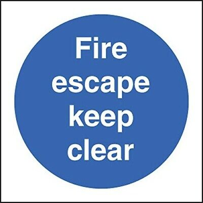 Fire Escape Keep Clear Sign Self Adhesive 100mm X 100mm • 0.80£