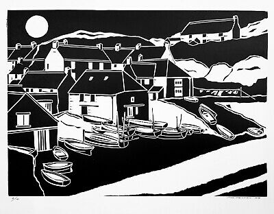 £25 • Buy  Cadgwith Cove Cornwall Linocut Print