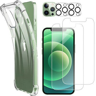 AU32.29 • Buy For IPhone 12 Pro 3-IN-1 Shockproof Clear Case+Screen+Camera Lens Tempered Glass
