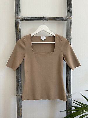 AU25 • Buy Witchery Beige Milano Knit Short-Sleeve Top - Size XS (Fit Size 8)