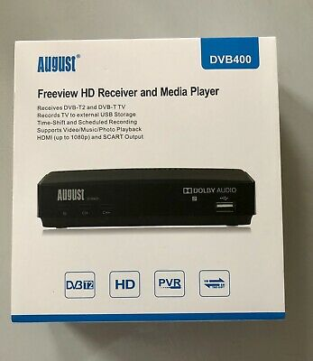 August DVB400 1080p HD Freeview Set Top Box With USB To Record Pause And Play. • 25£