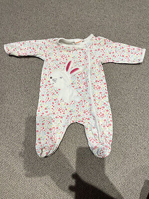 Bluezoo Newborn Bunny Sleepsuit White Floral Pink 0-3 Months  • 0.99£