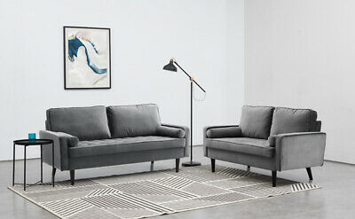 £209.99 • Buy Velvet Sofa Set Grey Fabric 2 & 3 Seater Couch Settee Suite Luxury Upholstered