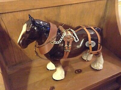 A Stoke Pottery Shire Horse With Harness In Vgc • 14.99£