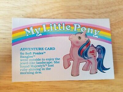 My Little Pony G1 Year 5 Adventure Card So Soft Ponies Bangles • 3.62£
