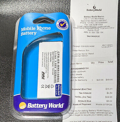 AU39.95 • Buy Battery World NFC Battery For Samsung Galaxy Note 4 EB-BN910BBE 3220mAh