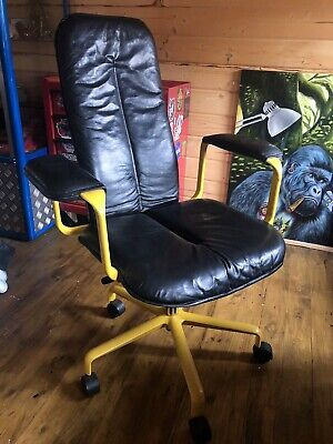 £449.99 • Buy Rare Vintage Fred Scott Hille Supporto Chair Black Leather / Yellow