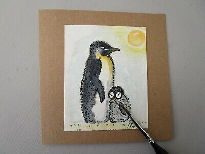 £2.75 • Buy Hand Painted Card Penguin Mothers Day. Birthday Get Well Anniversary
