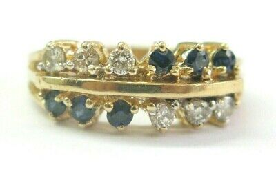 AU889.84 • Buy Sapphire & Diamond Two Row Ring Solid 14Kt Yellow Gold 1.10Ct SIZEABLE