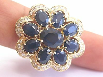 AU2669.53 • Buy Fine BIG Gem Blue Sapphire Diamond Yellow Gold Flower Ring 14Kt 11.57Ct