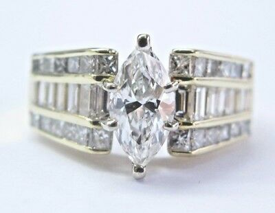 AU8145.49 • Buy Marquise & Baguette Diamond Engagement Ring 18Kt Solid Yellow Gold 2.61CT E-SI1