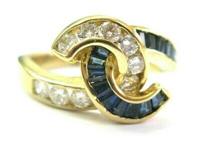 AU1300.54 • Buy Ceylon Sapphire & Diamond Crossover Ring 14Kt Yellow Gold 1.60Ct SIZEABLE