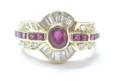 AU1711.24 • Buy 18Kt Gem Ruby Diamond Multi Shape Jewelry Ring Yellow Gold 1.33CT