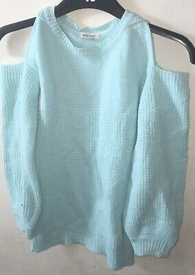 River Island Girls Blue Off The Shoulder Jumper Age 7-8 Years • 8.50£