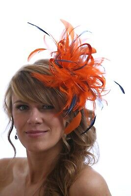 Orange & Navy Blue Feather Fascinator Hat - Choose Any Colour Satin/feathers • 54£