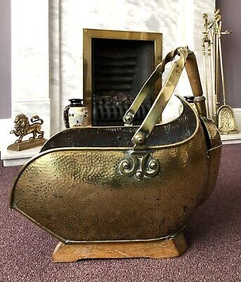Vintage Brass Coal Scuttle Kindling Log Box Fire Fireplace With Matching Shovel • 79.95£