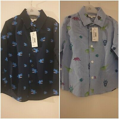 Blue Zoo Debenhams BNWT Shark & Dinosaur Robot  Shirt Bundle Aged 2-3 Boys NEW • 3.99£