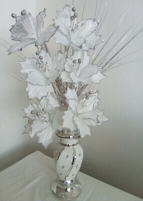 £29.99 • Buy NEW STOCK Bling Mosaic Romany Mirror Shine 30cm Silver White Vase With 6 Flowers