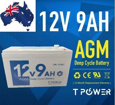 AU39.99 • Buy 12V 9Ah Battery AGM SLA DEEP CYCLE UPS ALARM CAMPING MARINE KIDS TOY