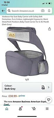 Viedouce Hip Seat Baby Carrier With Safety Belt Protection, Pure Cotton, • 18£